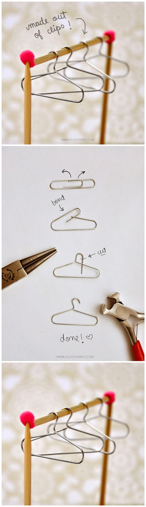 How To #Diy From Paper Clips To #Mini #Hangers Cute to hang mini Christmas sweater ornament on!