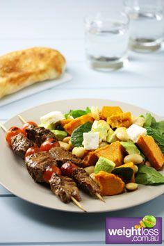 Healthy Lamb Recipes: Lamb Kebabs with Pumpkin & Spinach Salad. #HealthyRecipes #DietRecipes #WeightlossRecipes weightloss.com.au