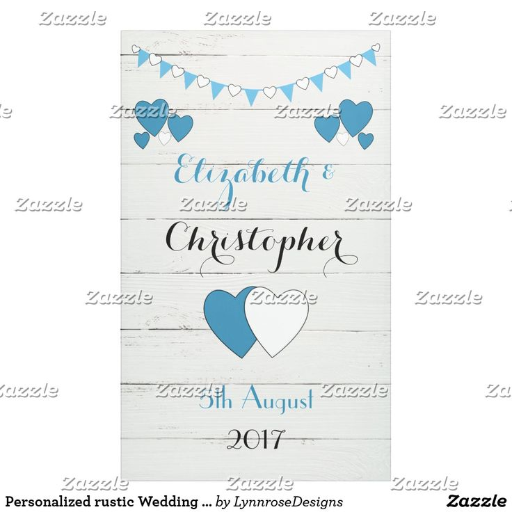 Personalized rustic Wedding Backdrop Blue bunting Banner