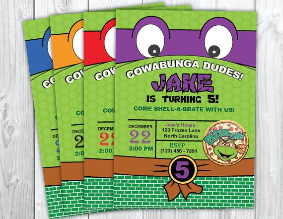 Teenage Mutant Ninja Turtles Invitation - Ninja Turtle Birthday - TMNT Birthday Invitation