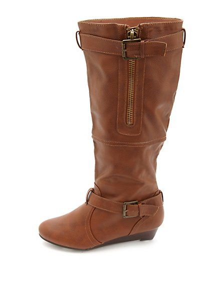 bamboo belted knee high sliver wedge boots