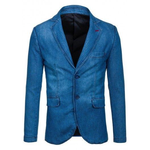 Štýlové pánske sako modrej farby so svetlými bodkami - fashionday.eu