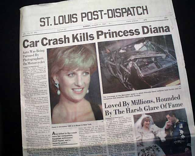 princess diana crash photos | Princess Diana... Car accident death... - RareNewspapers.com