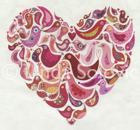 birds in a heart shape