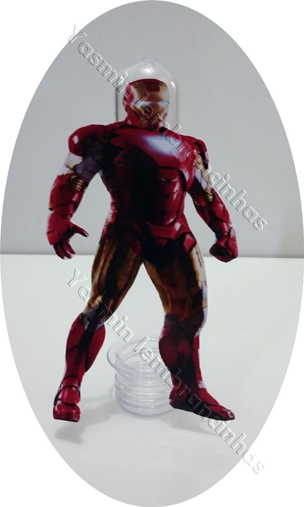 Tubete do Homem de Ferro  Tamanho: Tubete de 13cm X 4cm    Decorado fica 13(altura) X 7.5 (largura).  Tampa vermelha ou Preto