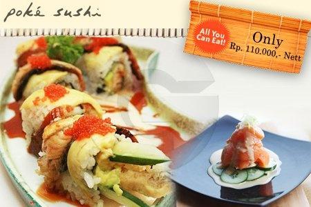 Spectacular Promo at Poke Sushi, Only Rp. 110.000! http://disdus.com/promo.php?i=65498 #Japanese #Food #Sushi #Promo