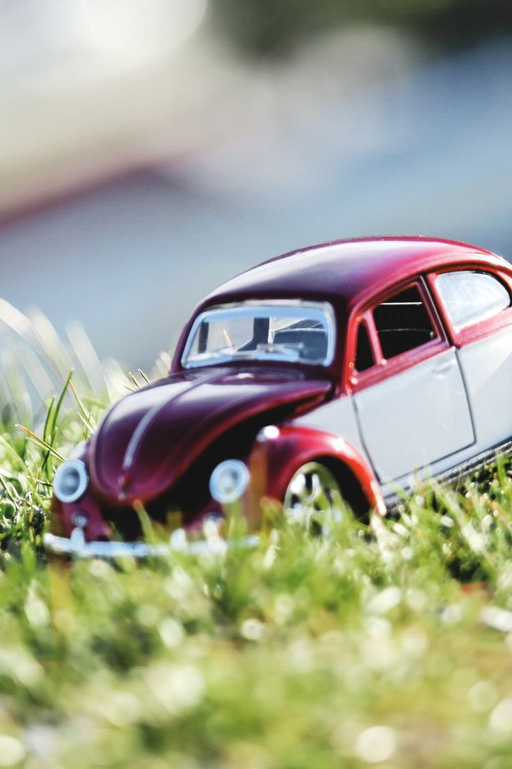 Red and White Beetle Car Toy on Grass Field in Bokeh Photography