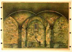 Zalar - Kaple pozadi c. 10. Stapferovy ceské decorace pro 25 i 35 cm. loutky. (Kerker - Kapelle Hintergrund Nr. 10. Stapfers tschech. Dekorationen für 25-35 cm Puppen.)