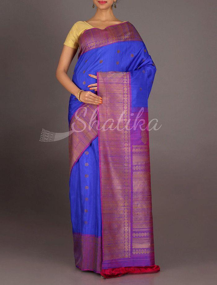 Samaira Ink Blue And Purple Broad Border #JuteSilkSaree