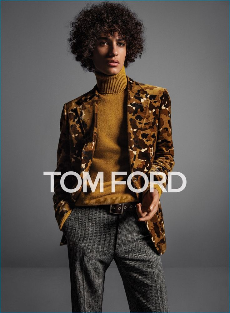 Tre Samuels channels 70s style in a chic turtleneck sweater and patterned blazer for Tom Ford's fall-winter 2016 menswear campaign.