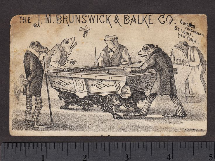 Circa 1880 J M Brunswick Balke Co Chicago Frog Pool Table Billiards Bar Card | eBay