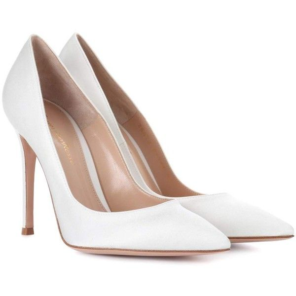 Gianvito Rossi Gianvito 105 Silk-Satin Pumps (2,355 PEN) ❤ liked on Polyvore featuring shoes, pumps, white, white pumps, real leather shoes, white leather pumps, leather footwear and white leather shoes
