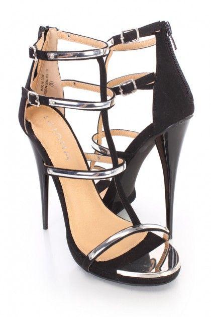 Black Polish Strappy Single Sole Heels Faux Suede