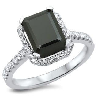 18k White Gold 2 1/10ct TDW Certified Black Diamond Emerald Cut Engagement Ring (VVS1-VVS2)