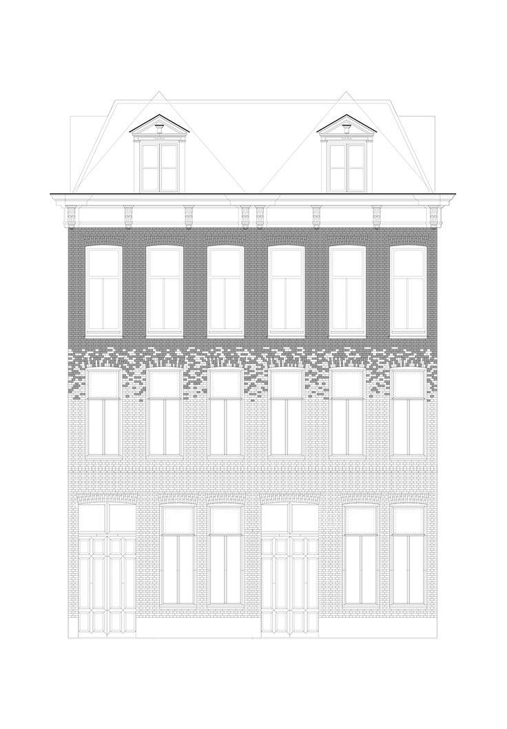 Alzado de la fachada de Crystal Houses por MVRDV.