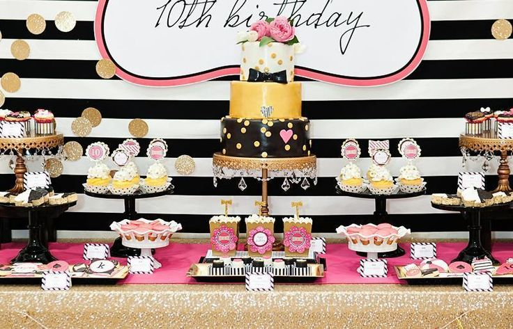 décoration thématique Princesse pour l'anniversaire d'une fillette en rose, blanc et noir