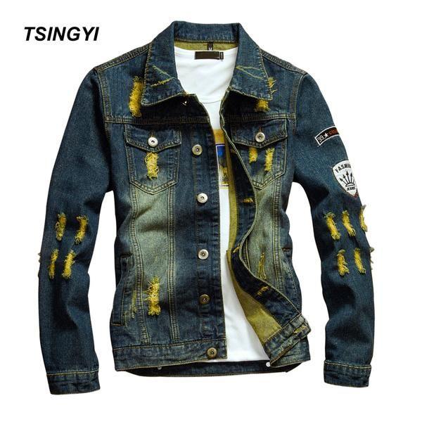 Tsingyi Distressed Yellow Hole Men Denim Jacket Teen Hip Hop Slim Fit Turn-down Collar Long Sleeve Denim Bomber Jackets… #jackets #fashion