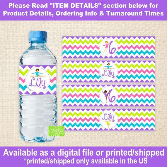 Waterfles gymnastiek - Turnen waterfles Wraps - Tumbling Flessenetiketten - digitale Labels en afgedrukt beschikbaar
