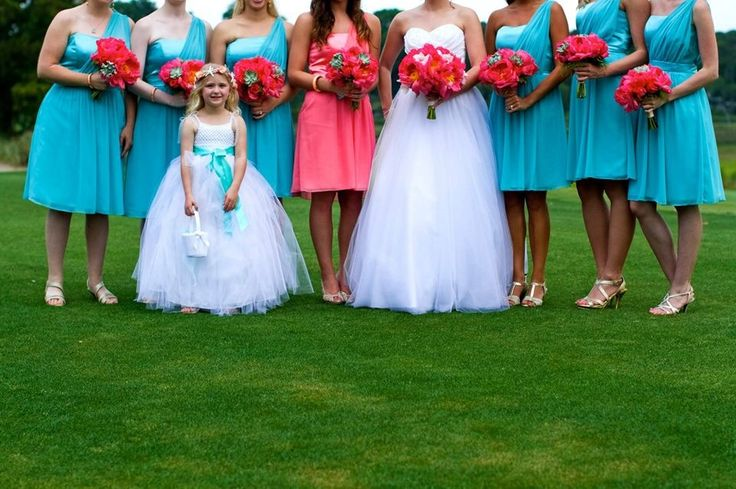 Coral and Turquoise Wedding. Bridesmaids. Flower girl. Turquoise Coral. Bridesmaid dresses.