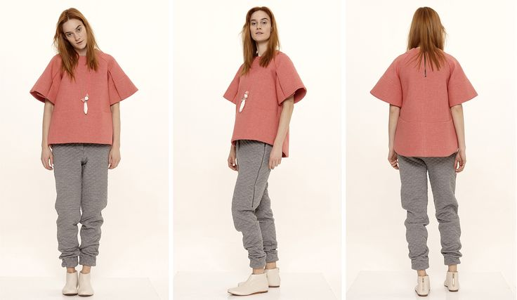 Dori Tomcsanyi mallow, wide sleeve neoprene t-shirt with quilted trousers.  Available from September at the webshop. http://doritomcsanyi.com/