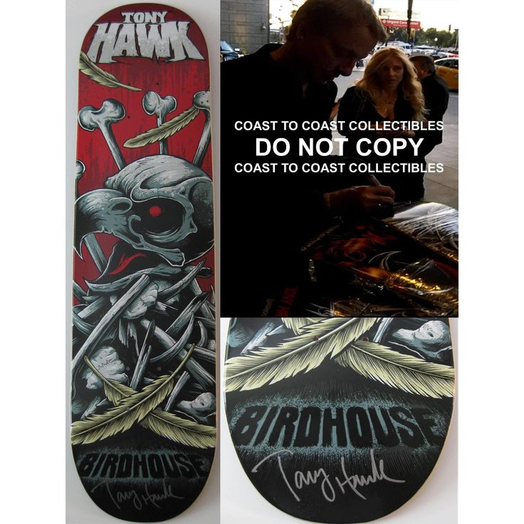 Tony Hawk, Signed, Autographed, Birdhouse Skateboard Deck, A COA with the Exact Proof Photo of Tony Signing Will Be Included.