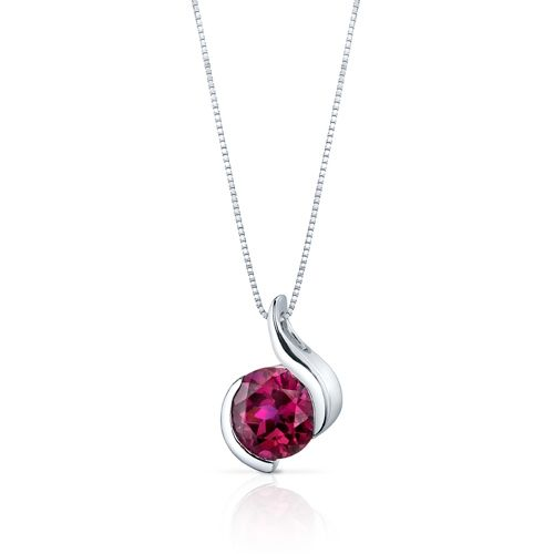 MSRP: $199.99  Our Price: $99.99  Savings: $100.00         Item Number: SP9490    Availability: Usually Ships in 5 Business Days         PRODUCT DESCRIPTION:    Simple and elegant, this Lab Created Ruby Pendant Necklace in Sterling Silver gives an air of minimalist sophistication, with the perfectly round iridescent stone framed in a delicate silver design. It's a charming addition to every girl's jewelry collection. The Pendant Necklace showcases an exquisite design with outstanding…
