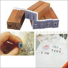 70 Stks Vintage Rechtop Type en Cursieve Tekens Alfabet Brief Nummer Symbool Stempels met Houten Doos Gratis Verzending(China (Mainland))