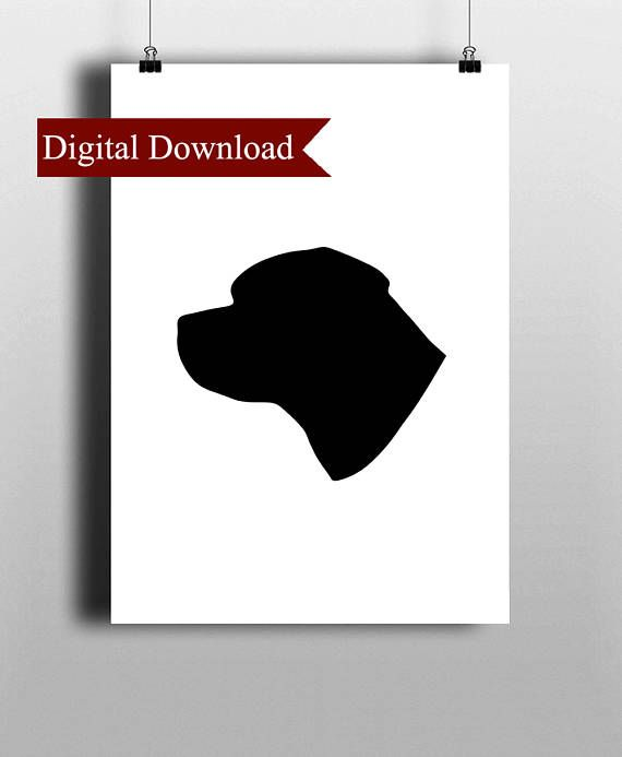 PRINTABLE DOWNLOAD A bold and striking high resolution DIGITAL PRINT available to download of a Rottweilers Silhouette. Your order will include: 1 x JPG file 18 x 24. 1 x Small A5 PDF file. 1 x Medium A4 PDF file. 1 x Large A3 PDF file. PLEASE NOTE: You will NOT receive a physical print in the mail when purchasing this listing. Your order is for a digital file ONLY. ___________________________________________________________ IF YOU DO NOT HAVE ACCESS TO A PRINTER YOU CAN ORDER...