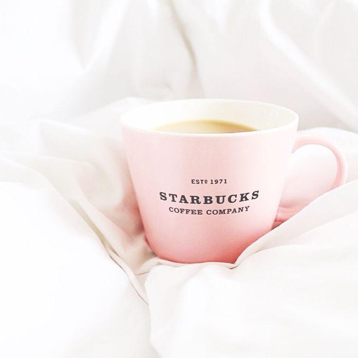 Coffee in a pastel pink mug