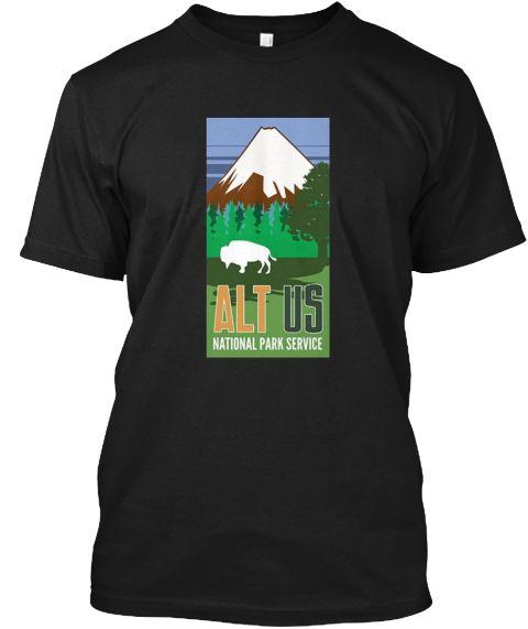 Alt Us National Park Service Resist  Black T-Shirt Front