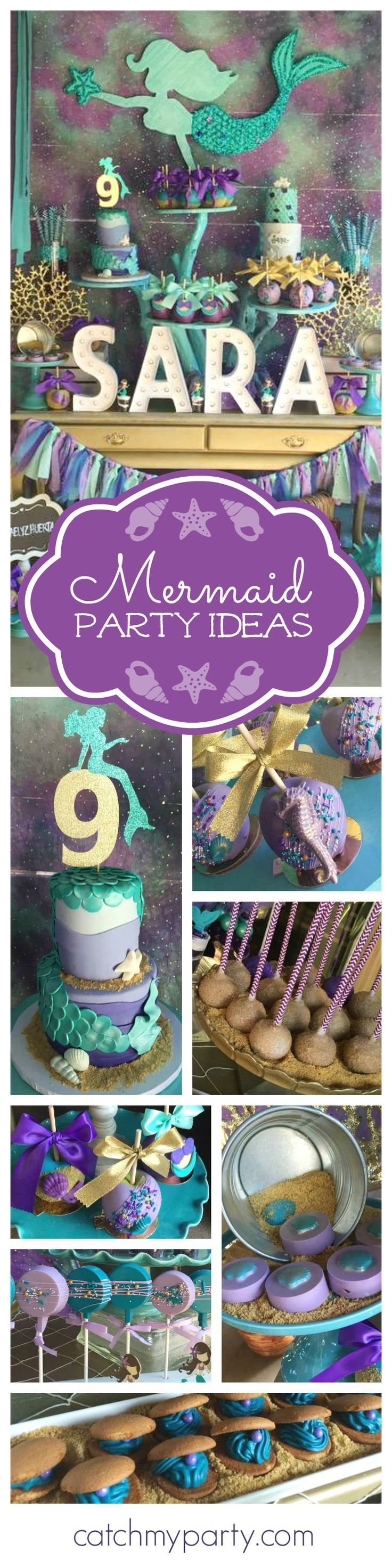 Swim with Mermaids at this fabulous birthday party! The dessert table and backdrop are gorgeous!! See more party ideas and and add yours to http://CatchMyParty.com