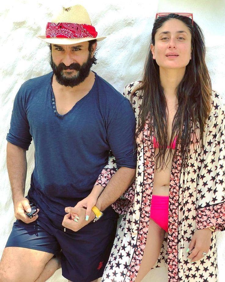 The uber stylish #SaifAliKhan with the perfect bikini bod wife #KareenaKapoor #tashan #saifeena #sohaalikhan #taimuralikhan #inaayakhemu #pataudis #beach #vacation #beachbums #bikinigirl #vacaymode #celebrity #celebritycouple #lovestruck #inlove #bollywood