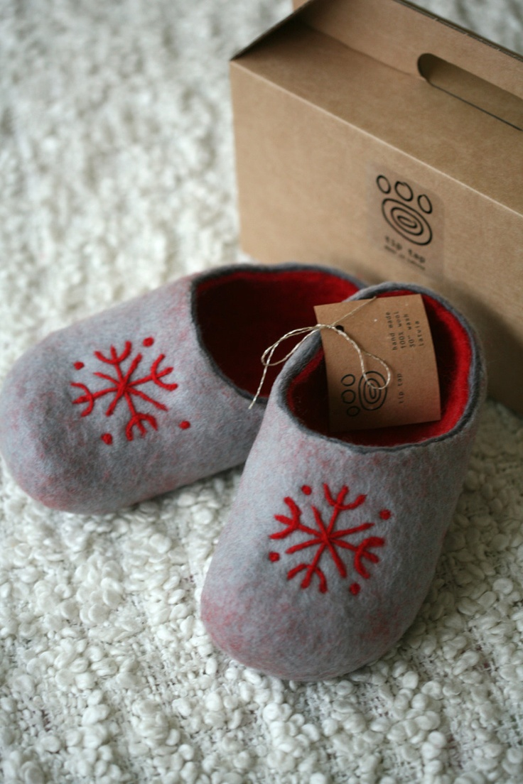 Grey felt slippers with red decors. $55.00, via Etsy.