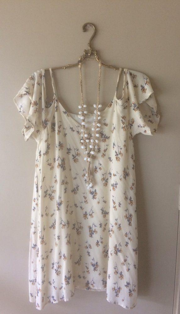 Image of Local designer Mahina Floral off shoulder lined gypsy coachella dress