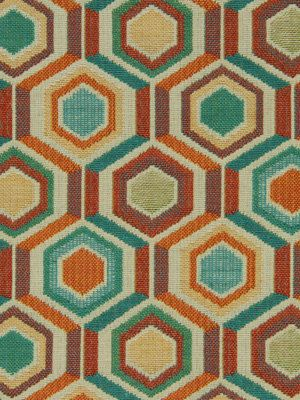 A modern upholstery fabric in geometric shapes of mandarin orange, teal,  violet and ivory. This woven fabric is suitable for all furniture