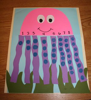 Octopus Counting Craft - Who doesn't love a craft that is cute but also educational? This octopus is sure to give you that. This craft is appropriate for ages 3 and up, with younger children needing help from an adult. Have fun creating this under the sea creature and learning numbers and counting.