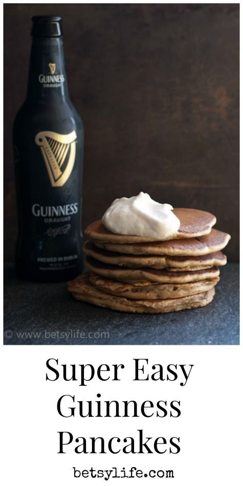Super Easy Guinness Pancakes Recipe. Make your St. Paddy's day a little more festive by swapping the milk in your pancakes for Guinness! Topped with a little Baileys Irish Cream whipped cream, it's like having dessert for breakfast.