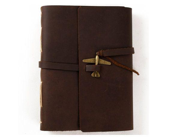 Einzigartige Leder Journal Tagebuch schließen mit Flugzeug leeres Liniertes Handwerk Papier handgefertigten braun A5 mit Geschenk-Box