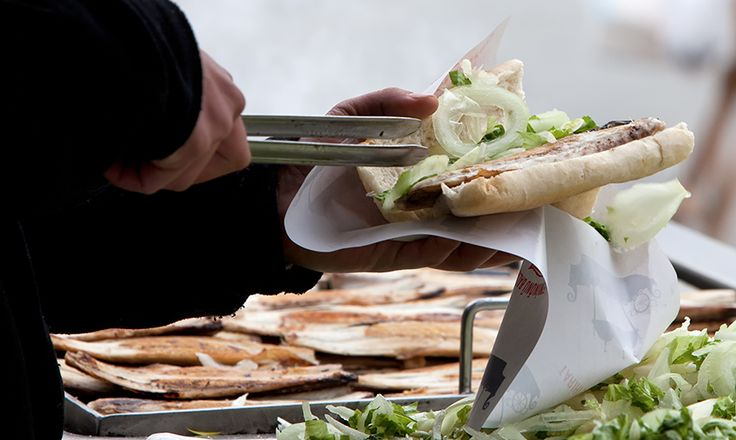 Balık-ekmek is a fresh fish sandwich which can be bought directly from the boats under the Galata Bridge by the Eminönü.