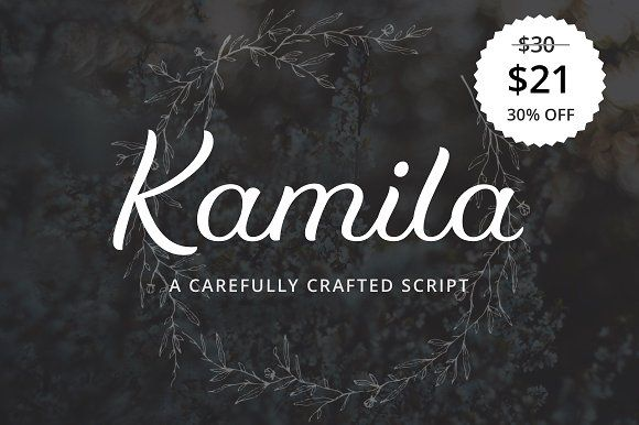 Kamila 30% Off Intro Price by SevenType on @creativemarket #fonts #handwritten #script #font #typeface #typography