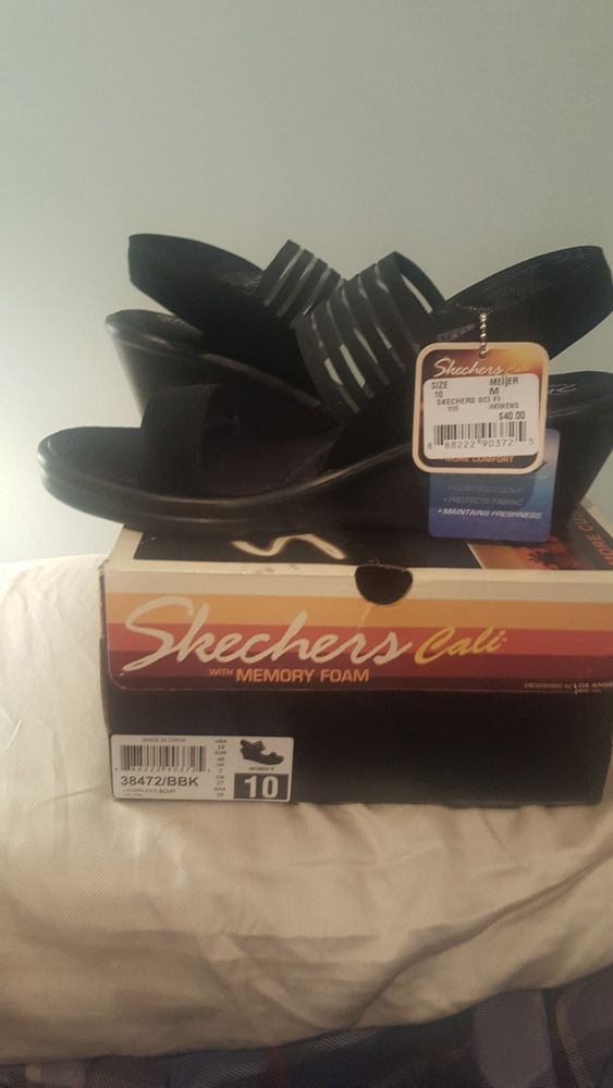 cff70b023c9 Skechers Rumblers Cali Sci-Fi Wedge Sandals Women s Size 10 M black  fashion