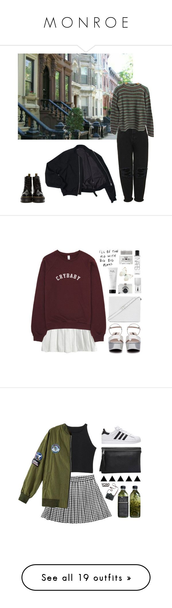 """""""M O N R O E"""" by malikxmania ❤ liked on Polyvore featuring Boutique, Prada, Dr. Martens, Zara, BCBGMAXAZRIA, Givenchy, philosophy, NARS Cosmetics, CASSETTE and Monki"""
