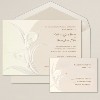 $99.95/100 - The classic and elegant calla lily wedding invitation showcases embossed calla lilies in a sophisticated tone-on-tone ensemble. With its timeless design and understated palette, this collection complements both classic and contemporary themed weddings