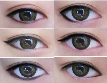 Eyeliner styles - notice how they affect the SAME EYE.