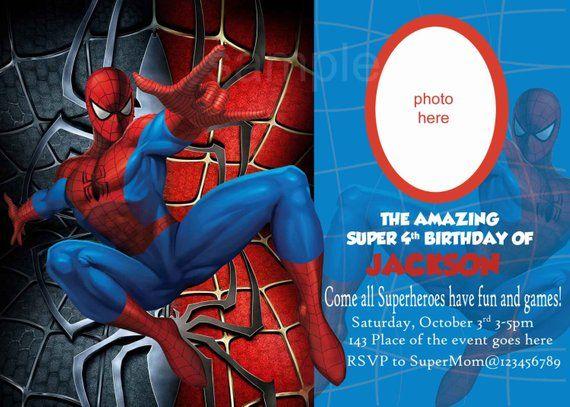Spiderman Invitation Spiderman Birthday Invitation Digital You Print In 2021 Spiderman Invitation Spiderman Birthday Invitations Spiderman Birthday