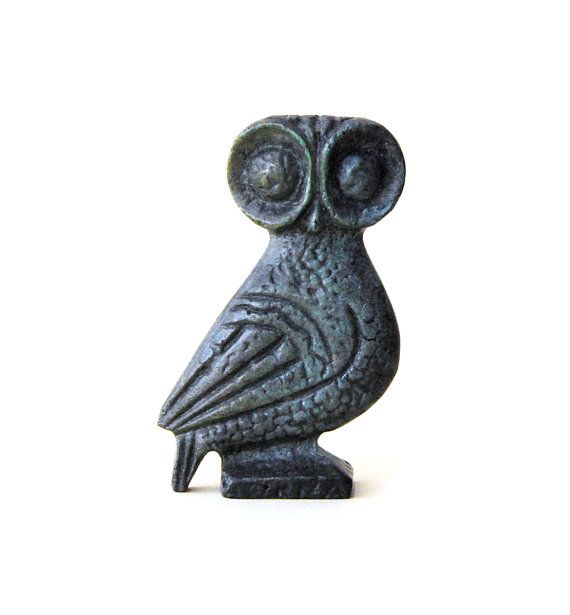 Owl Bronze Verdigris Greek Sculpture  Big Eyes by GreekMythos