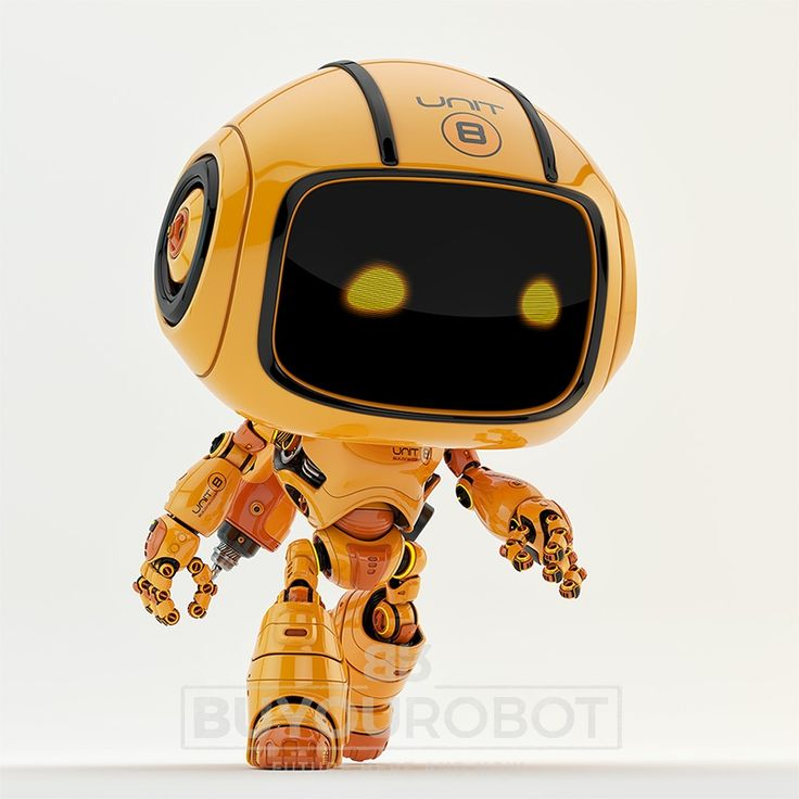 Engineer bot walking II. Cute robotic unit walking with drill on back 3d render.