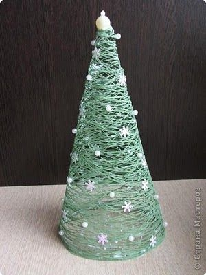 Christmas tree: cover cone with saran wrap, wrap with yarn, slather with Elmer's glue, dry, take away cone; voila!