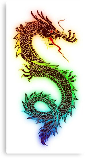 Rainbow Chinese Dragon Illustration (DBZ, Ancient, Mythical)
