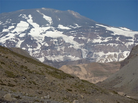 Volcan San Jose, 5856 metres, stands nest to Marmolejo. An active volcano, currently under close observation